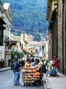 Street vendor on the streets of Bogota, Colomia