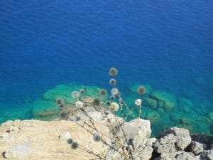 Turquoise Mediterranean waters at the shores of Greek Islands