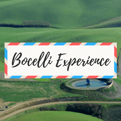 """image of Teatro del Silenzio in Italy - with large text in the middle that says """"Bocelli Experience"""""""