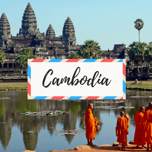 """image of Angkor Wat in Cambodia - with large text in the middle that says """"Cambodia"""""""