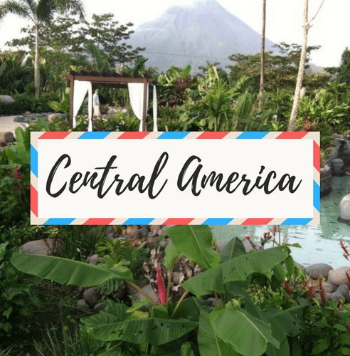 "image of Arenal Volcano and Hot Springs in Costa Rica - with large text in the middle that says ""Central America"""