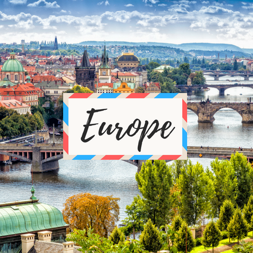 "image of Prague a City in Czech Republic - with large text in the middle that says ""Europe"""