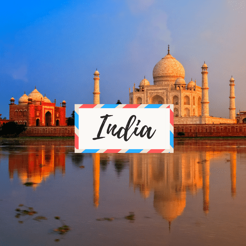 """image of Taj Mahal in India - with large text in the middle that says """"India"""""""