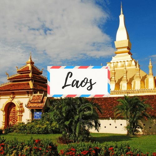 """image of Pha That Luang in Laos - with large text in the middle that says """"Cambodia"""""""