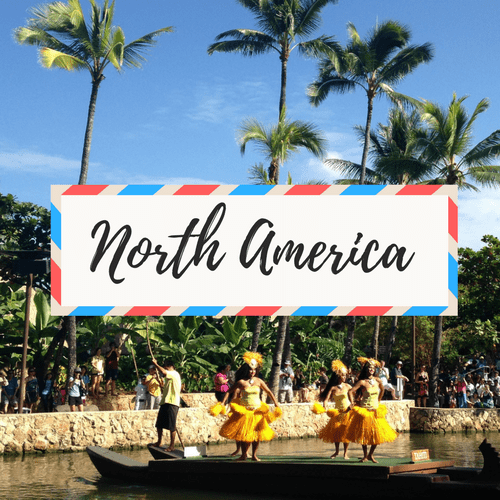 "image of Hawaii- with large text in the middle that says ""North America"""