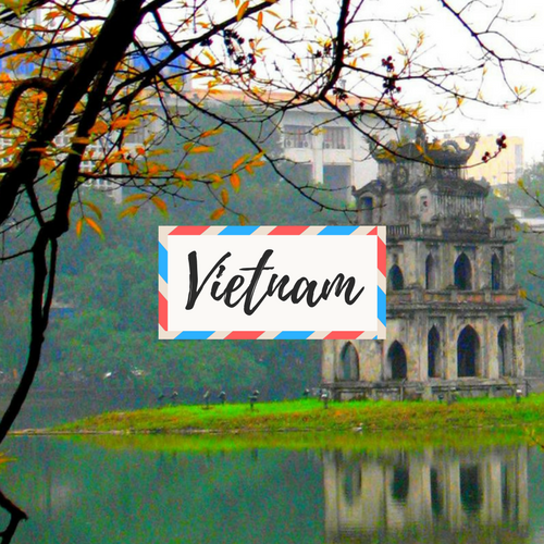 """image of Hanoi Sword Lake in Vietnam - with large text in the middle that says """"Vietnam"""""""