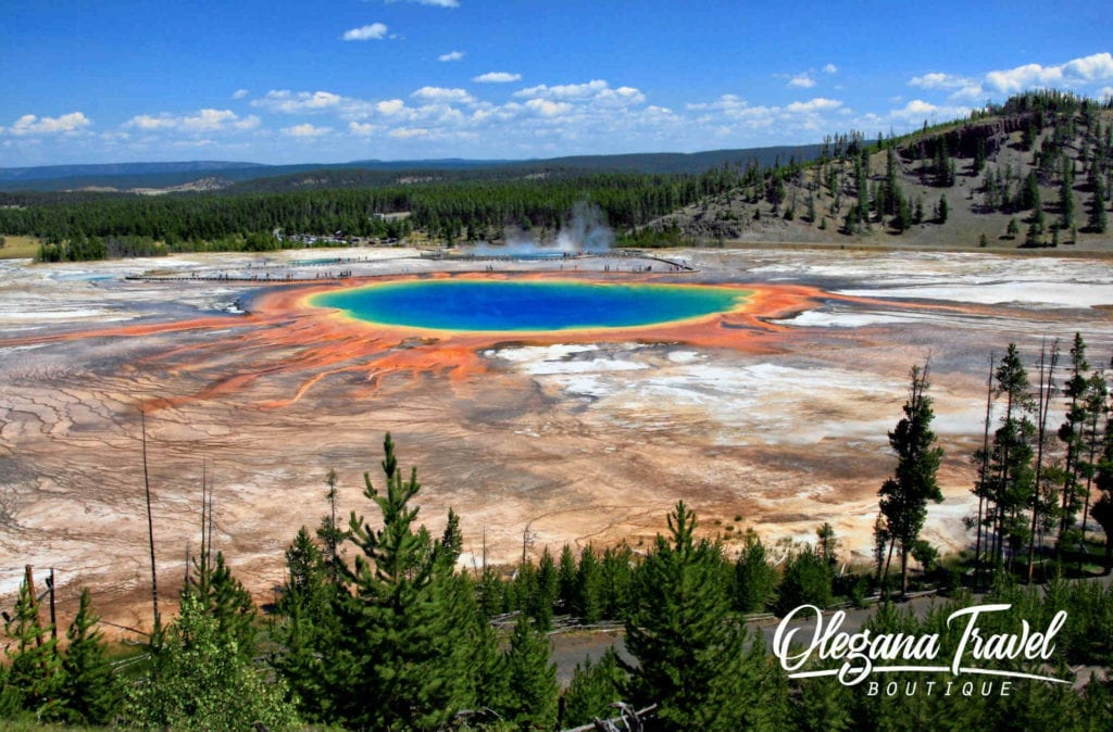 Yellowstone National Park, Grand Prismatic Spring and Midway Geyser Basin From Above