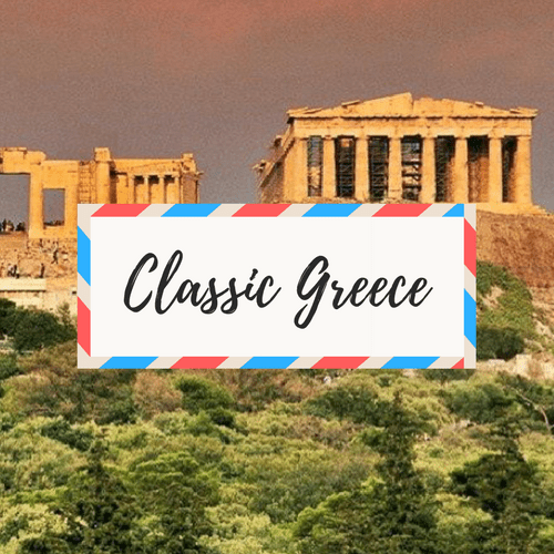 """image of Greece - with large text in the middle that says """"Classic Greece"""""""