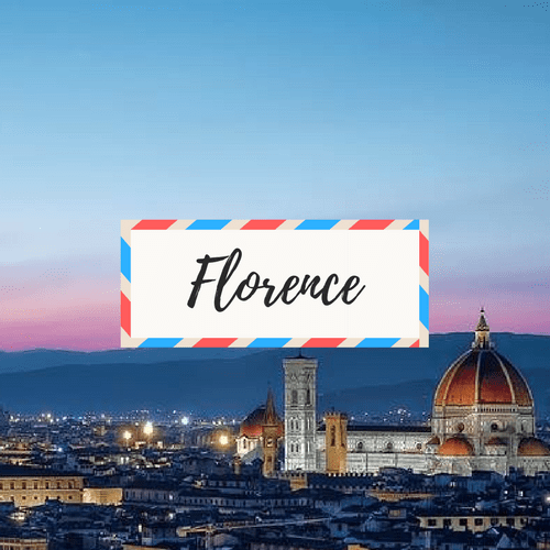 """image of Florence, Italy - with large text in the middle that says """"Florence"""""""