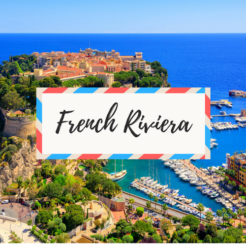 """image of Monaco - with large text in the middle that says """"French Riviera"""""""