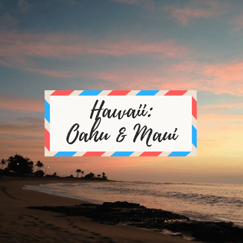 """image of Oahu sunrise - with large text in the middle that says """"Hawaii: Oahu and Maui"""""""
