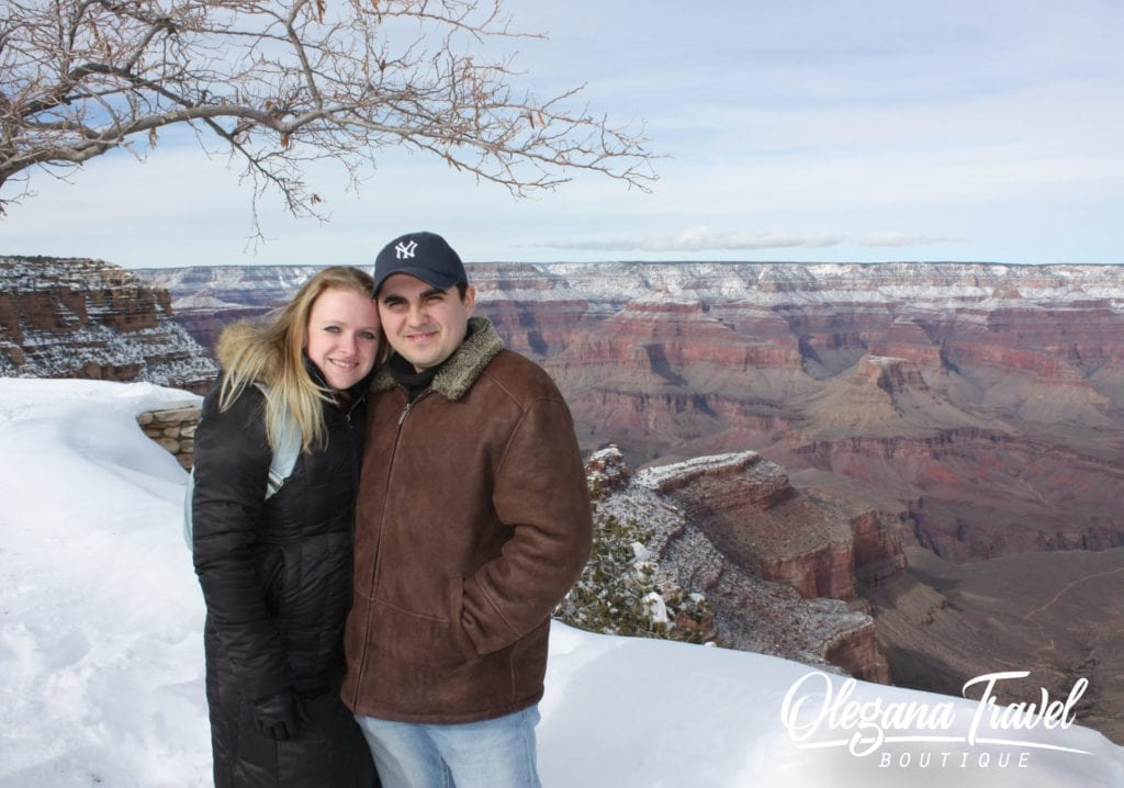 Anna & Oleg at Grand Canyon (Yes, it snowed!)