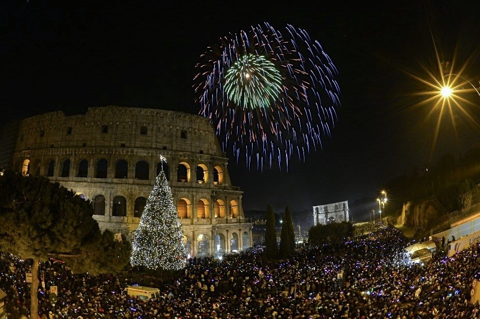 The Colosseum and via Dei Fori Imperiali on New Years Eve in Rome