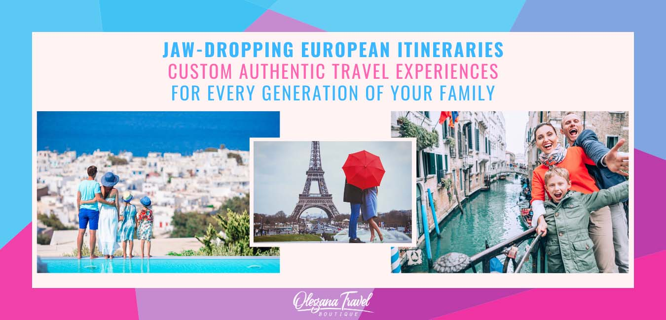 Jaw-dropping European itineraries, custom authentic travel experiences for every generation of your family. Family and a couple on vacation in Europe, in Greece, in Paris, in Venice.
